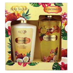 Kit Feminino Loção Corporal Coconut + Body Splash Coconut  Love Secret
